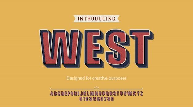 Fonte ocidental. para fins criativos Vetor Premium