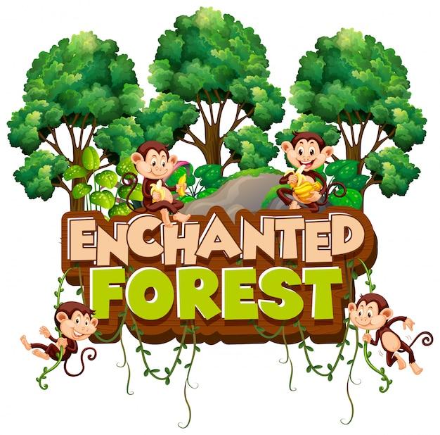 Fonte para a floresta encantada de palavra com macacos na floresta Vetor grátis