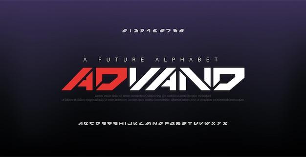 Fontes abstratas digitais modernas do alfabeto Vetor Premium