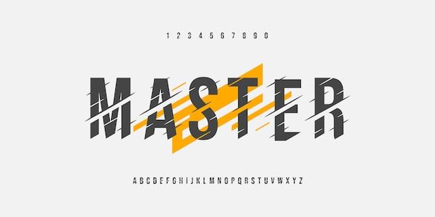 Fontes afiadas do alfabeto mestre falha e conjunto de números Vetor Premium