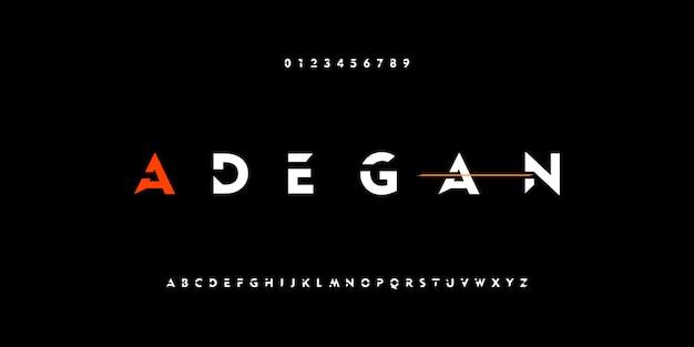 Fontes de alfabeto moderno abstrata forte tecnologia digital Vetor Premium