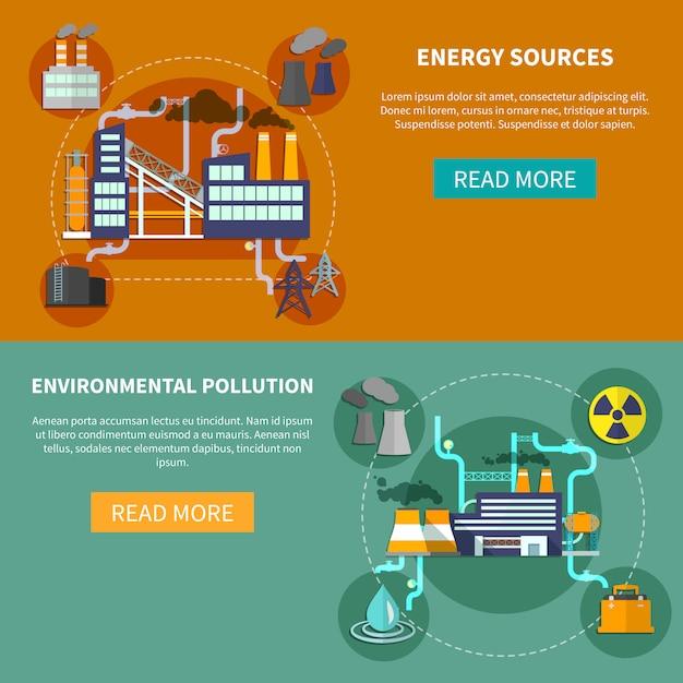 Fontes de energia e bandeira de poluição ambiental Vetor grátis