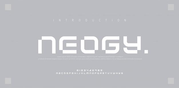 Fontes do alfabeto urbano moderno abstrato. esporte de tipografia, simples, tecnologia, moda, digital, futura fonte criativa Vetor Premium