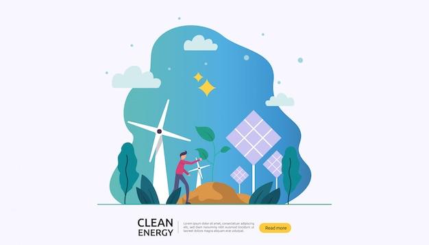Fontes renováveis de energia elétrica verde e conceito ambiental limpo Vetor Premium