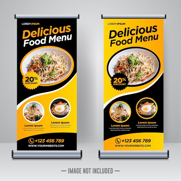 Food and restaurant roll up banner design template Vetor Premium