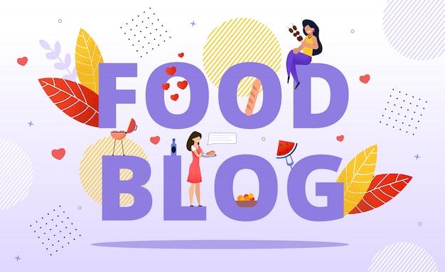 Food blogging, revisão de caçador de refeições, receita online Vetor Premium