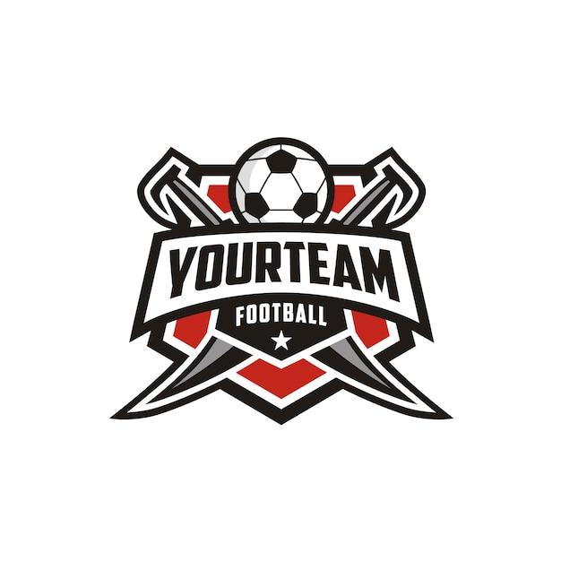 Football soccer club emblem badge logo design com espada Vetor Premium