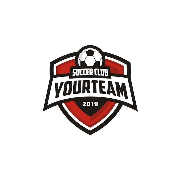 Football soccer club emblem emblema design de logotipos Vetor Premium