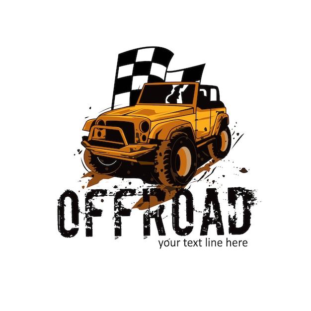 Fora da estrada e a bandeira Vetor Premium
