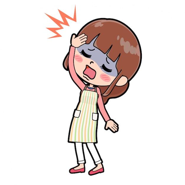 Fora da linha avental mãe dor de cabeça Vetor Premium