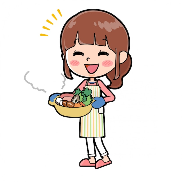 Fora da linha avental mom cook panela Vetor Premium