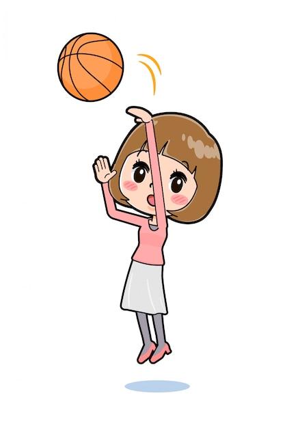 Fora de linha roupas cor de rosa mulheres basquete Vetor Premium