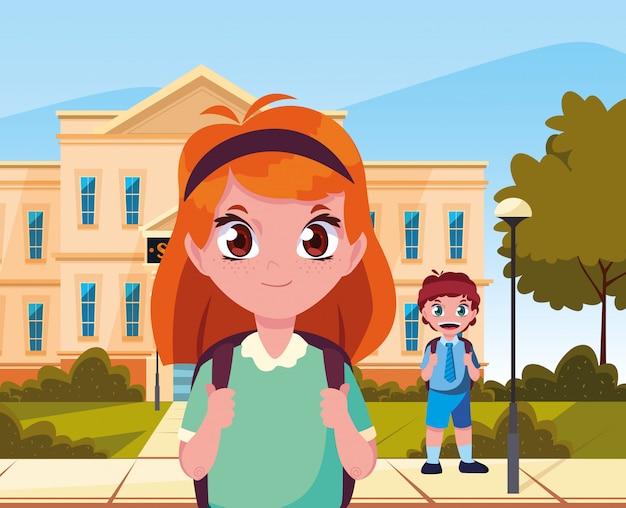 Fora, predios, menino menina, estudante, volta escola Vetor Premium