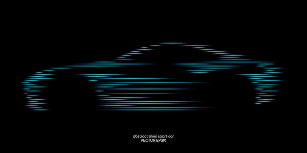 Forma de carro esporte por padrão de linha de movimento rápido azul verde no preto Vetor Premium