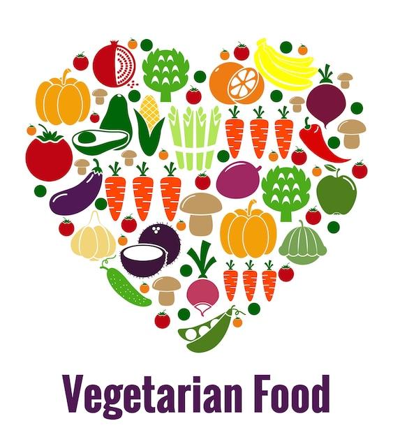 Forma de coração de comida vegetariana. legumes e dieta, frescos e frutas, cenoura e tomate, patison e abacate. ilustração vetorial Vetor grátis