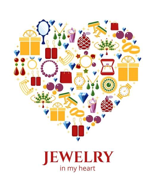 Forma de coração de joias. brinco e anel, botões de punho e colar, ilustração vetorial Vetor grátis