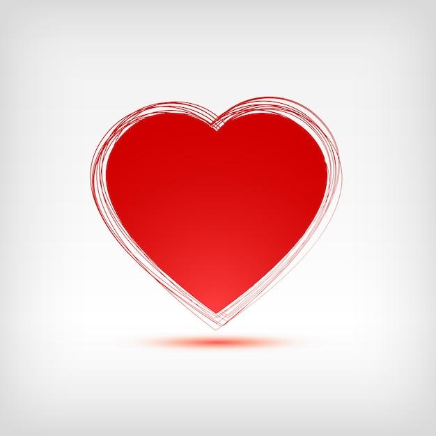 Forma de coração vermelho sobre fundo branco. ilustração. Vetor Premium