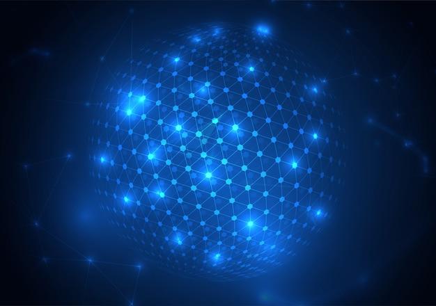 Forma de esfera abstrata de círculos brilhantes e partículas. visualização de conexão de rede global. fundo de ciência e tecnologia. Vetor Premium