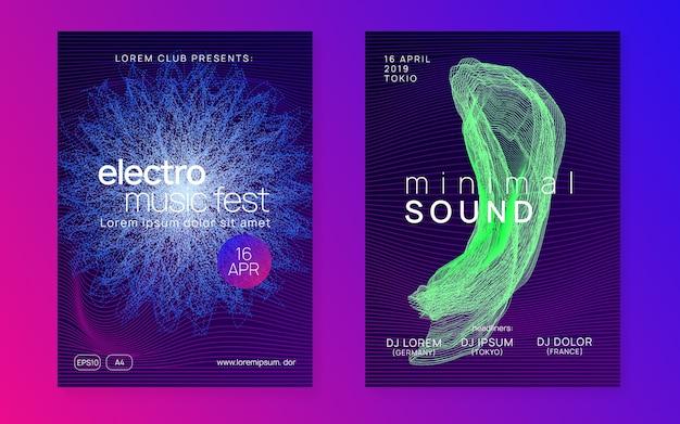 Forma de fluido dinâmico e design de cartaz de linha. folheto do clube de néon. electro dance music. dj de festa trance Vetor Premium