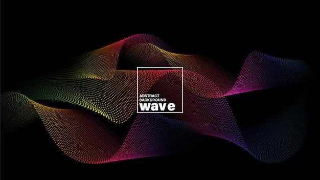 Forma de onda abstrata espectro em fundo preto. Vetor Premium