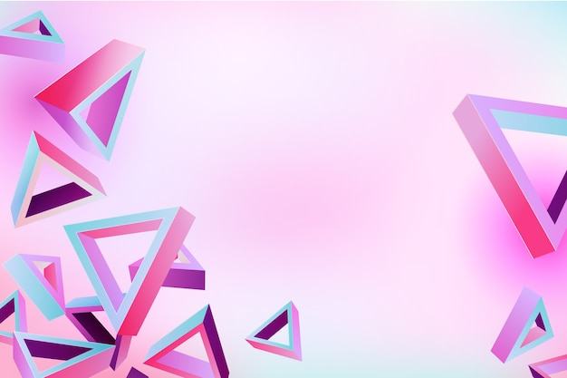 Forma de triângulo 3d em tema de cores vivas para papel de parede Vetor grátis