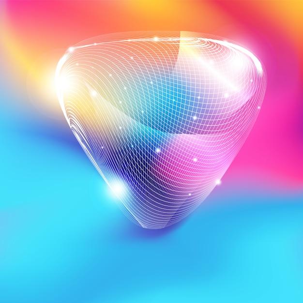 Forma de triângulo de malha branca abstrata com glitter em fundo gradiente colorido Vetor Premium