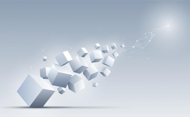 Forma geométrica abstrata e conexão com os cubos 3d no fundo. Vetor Premium