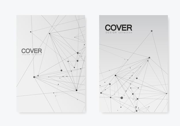 Forma geométrica poligonal abstrata com estilo de estrutura da molécula. brochura de capa de linhas e pontos de conexão Vetor Premium