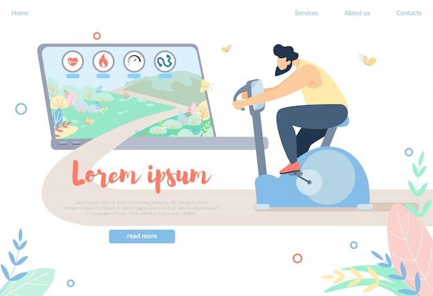 Formação de caráter masculino na bicicleta ergométrica, esporte Vetor Premium