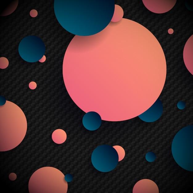 Formas abstratas de círculos azuis e rosa 3d Vetor Premium