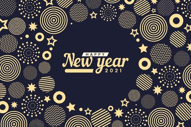 Formas circulares abstratas douradas feliz ano novo 2021 Vetor Premium