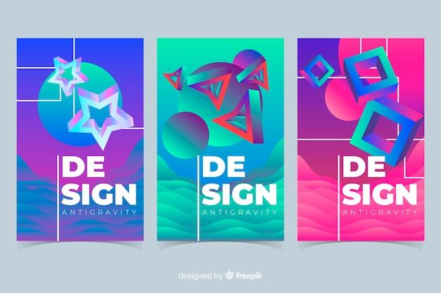 Formas coloridas 3d coleção de cobertura flutuante Vetor grátis