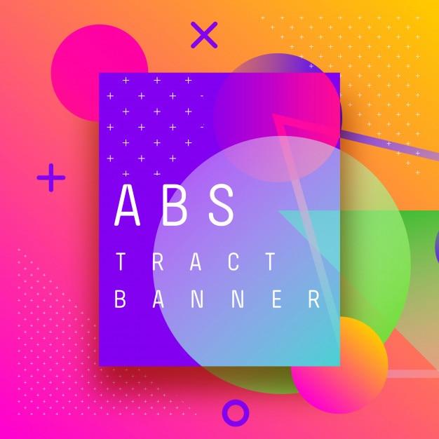 Formas de banner abstrato de fundo e spray de gradientes Vetor Premium