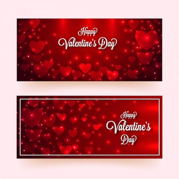 Formas de coração de papel decoradas com efeito de iluminação em vermelho brilhante Vetor Premium