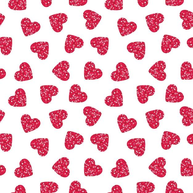 Formas de coração rosa com padrão sem emenda de glitter Vetor grátis