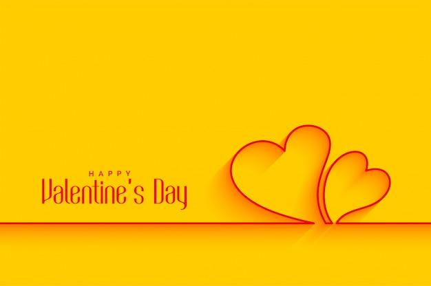 Formas de corações de linha mínima em fundo amarelo Vetor grátis