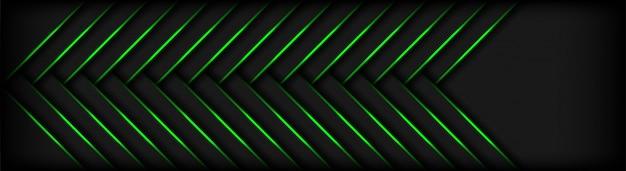 Formas de geometria 3d modernas escuras com fundo de linhas verdes Vetor Premium