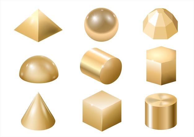 Formas de metal ouro Vetor Premium