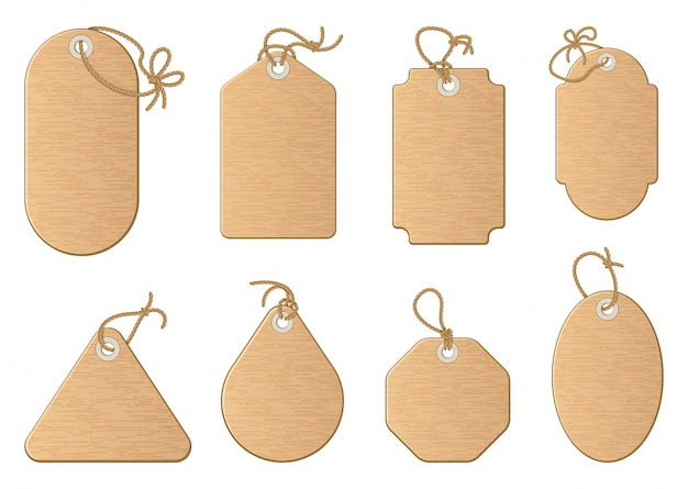 Formas diferentes das etiquetas da venda da compra isoladas no branco. Vetor Premium