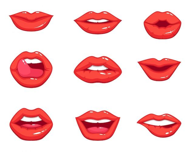 Formas diferentes dos lábios vermelhos sexy femininos. ilustrações vetoriais em estilo cartoon Vetor Premium
