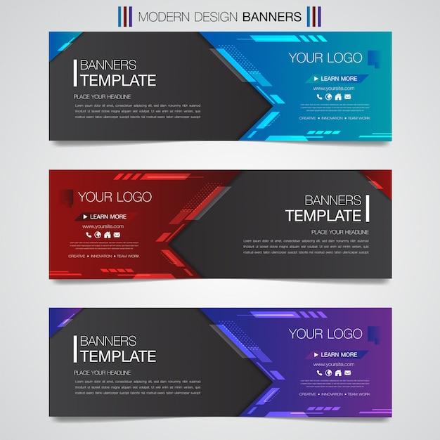 Formas geométricas de banner horizontal negócios abstratos design web conjunto modelo fundo Vetor Premium