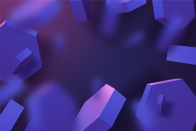 Formas geométricas em tons de violeta brilhantes fundo 3d Vetor Premium