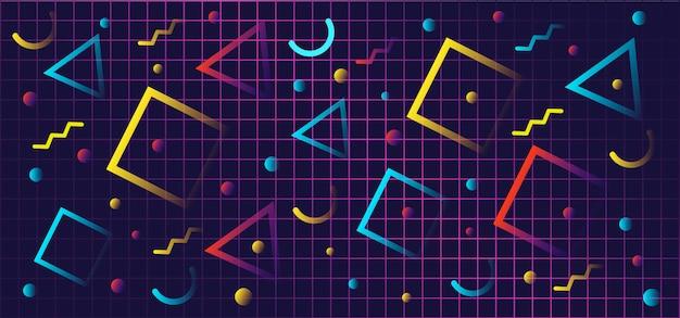 Formas geométricas gradientes em estilo retro Vetor Premium