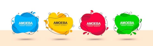 Formas geométricas planas em banner de estilo memphis Vetor Premium