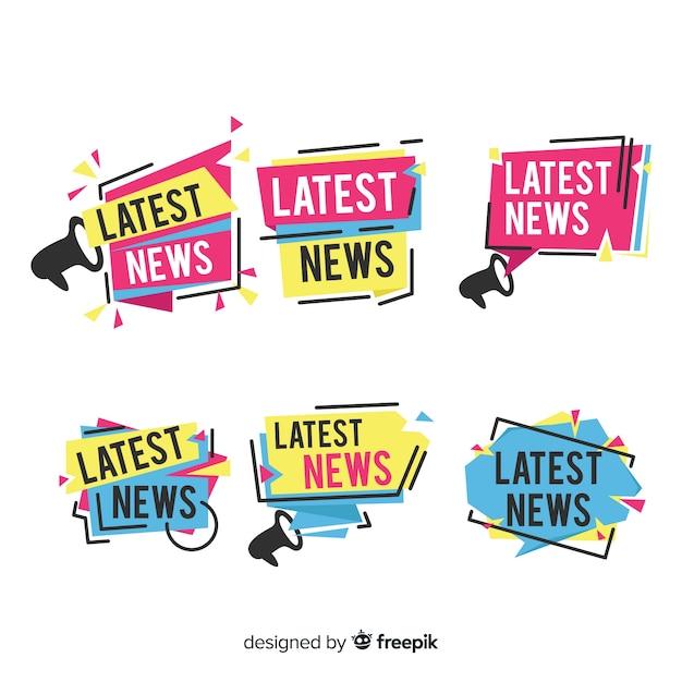 Formas geométricas planas últimas notícias conjunto de banner Vetor grátis