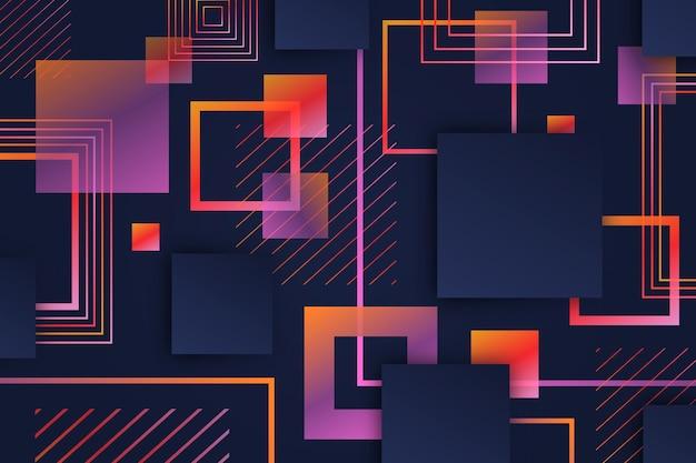 Formas geométricas quadradas gradientes em fundo escuro Vetor grátis