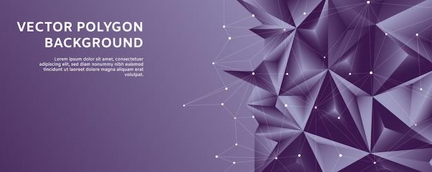 Formas poligonais abstratas da linha de polígono em fundo gradiente violeta e branco Vetor Premium