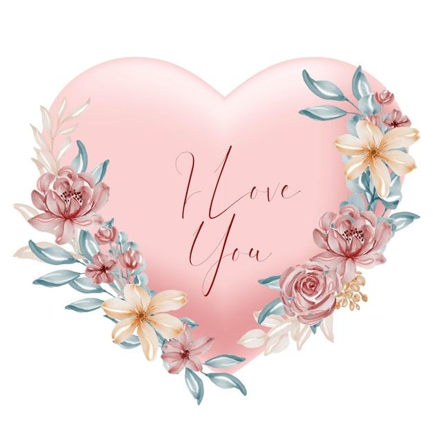 Formato de coração de pêssego dos namorados, eu te amo, palavras com flores e folhas em aquarela Vetor grátis