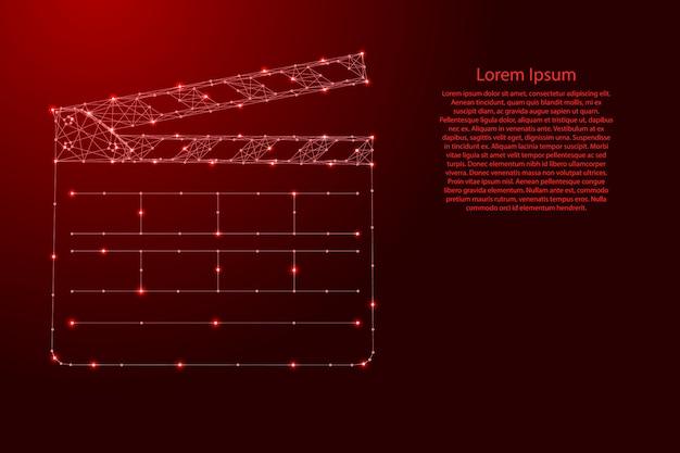 Formato de número de claquete para duplas nos filmes a partir de linhas vermelhas poligonais futuristas Vetor Premium