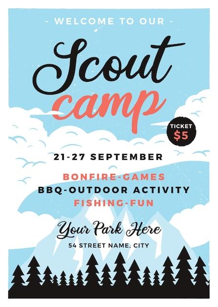 Formato de panfleto de acampamento de escoteiros. Vetor Premium